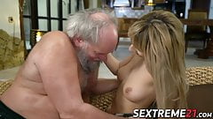 Young pussy fucked by old dude with gray hair and beard