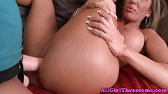 Lesbian babe choked and strapon fucked