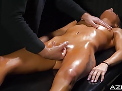 KYLIE GETS A MASSAGE FROM THE MYSTERY MAN