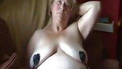 Chubby granny shows pussy