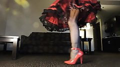 Sissy Ray in Red Dress and Crinoline Petticoats