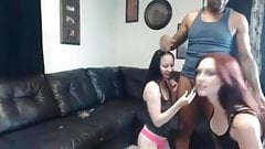 two lucky girls enjoy big black dick