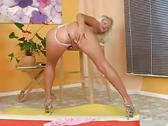 Masturbating Blonde Babe In High Heels With Pink Dildo