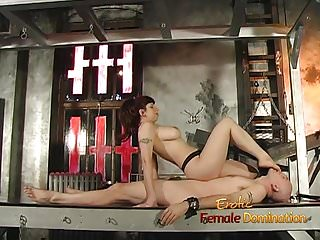 Bald stud enjoys being pleasured by a busty redhead in the