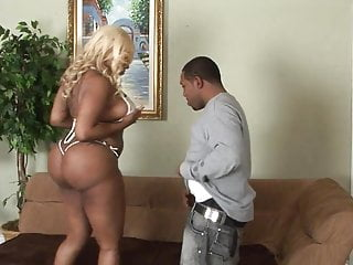 Curvy blonde ebony gets hard doggy style fuck