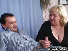Huge grandma swallows two dicks