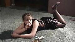 Cute girl -smoking leather