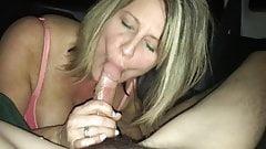 Blowjob in the car - Hot milf swallows the cum