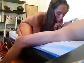 Brunette college friend lost a bet and gives a surprise bj