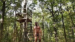 Jerk off from high seat - nude in the woods - quick cum