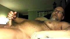 bear delicious playing with  his hairy cock