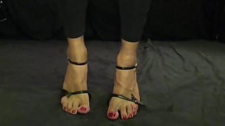 Sissy show red toes nails naked feet with toes heels