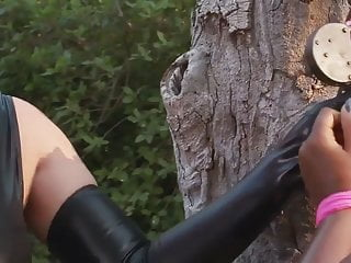 Black huge tit tube galore - Black huge-boobs-babe in outdoors bondage-treatment
