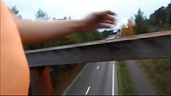 Naked exhibition on a bridge