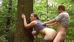 BBW MILF fucked in the woods