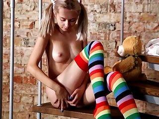 Cute Blonde Bernie Posing In Striped Socks