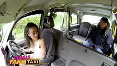 Female Fake Taxi Petite ebony cabbie with tiny shaven pussy