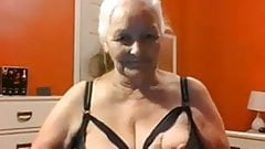 Grandma 68 years shows big tits and pussy