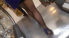 candid in pantyhose in escalator