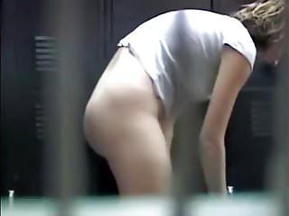 Spied as she dresses in a locker room