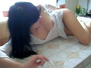 Hot gf gives a blowjob job on the kitchen table