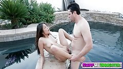 Horny teen Sami Parker gets her pussy drilled by the pool
