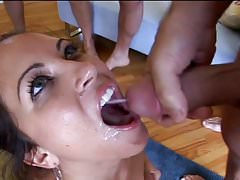 Cute little slut gets blowbanged and swallows all the cum