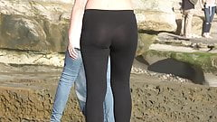 Amazing Teen Ass & Thong in See Through Leggins