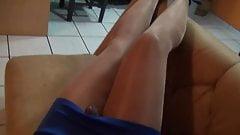 Shiny pantyhose and Blue skirt- Crossdresser TV