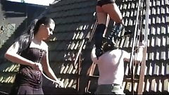 2 Femdom Girls in Military Dress and Boots dominate old man