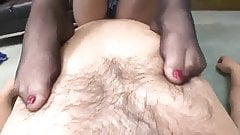 Ultra hot teasing and footjob in nylon