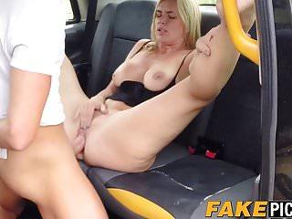 Hardcore fucking inside the cab with busty blonde slut