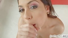 She takes hard anal gapes and swallows cum