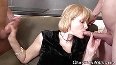 Stockinged GILF pegging hunks ass after sucking two dicks's Thumb