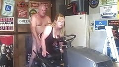 Mature couple fucking on the tractor