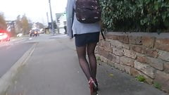 Pantyhose and red heels
