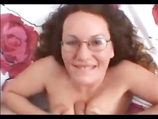 Shameless girl in glasses gives blowjob 5 - cum on face