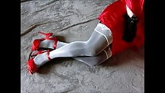 Red heels Layered white stockings and pantyhose (chastity)