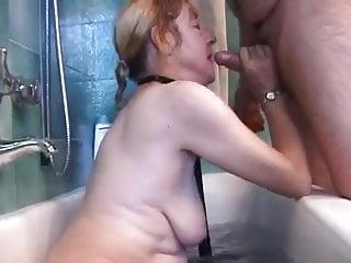 Italian granny is fucked by 2 guys