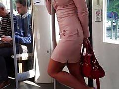 girl in mini leather dress public voyeur &extreme high heels's Thumb