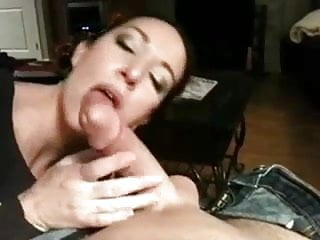 Girlfriend sucking cock and eating cum