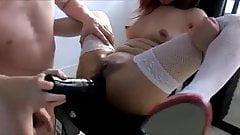 Asian girl extreme anal dildo fucking