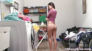 Teenage babe pussy fucked after doing laundry