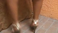 Foxy tranny babe Monica Rodrigues tugging her cock