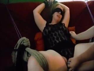 Blindfolded gay toyed