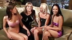 Group of gorgeous babes have steamy lesbian sex in the living room