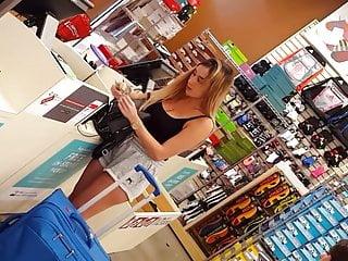 Candid voyeur blonde babe waiting in line shopping