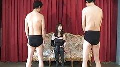 Domina to enjoy giving reward and punishment to slavery