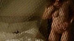 Hidden cam behind screen catches sex