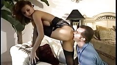 Brunette fucking in sheer nylons and a garter belt